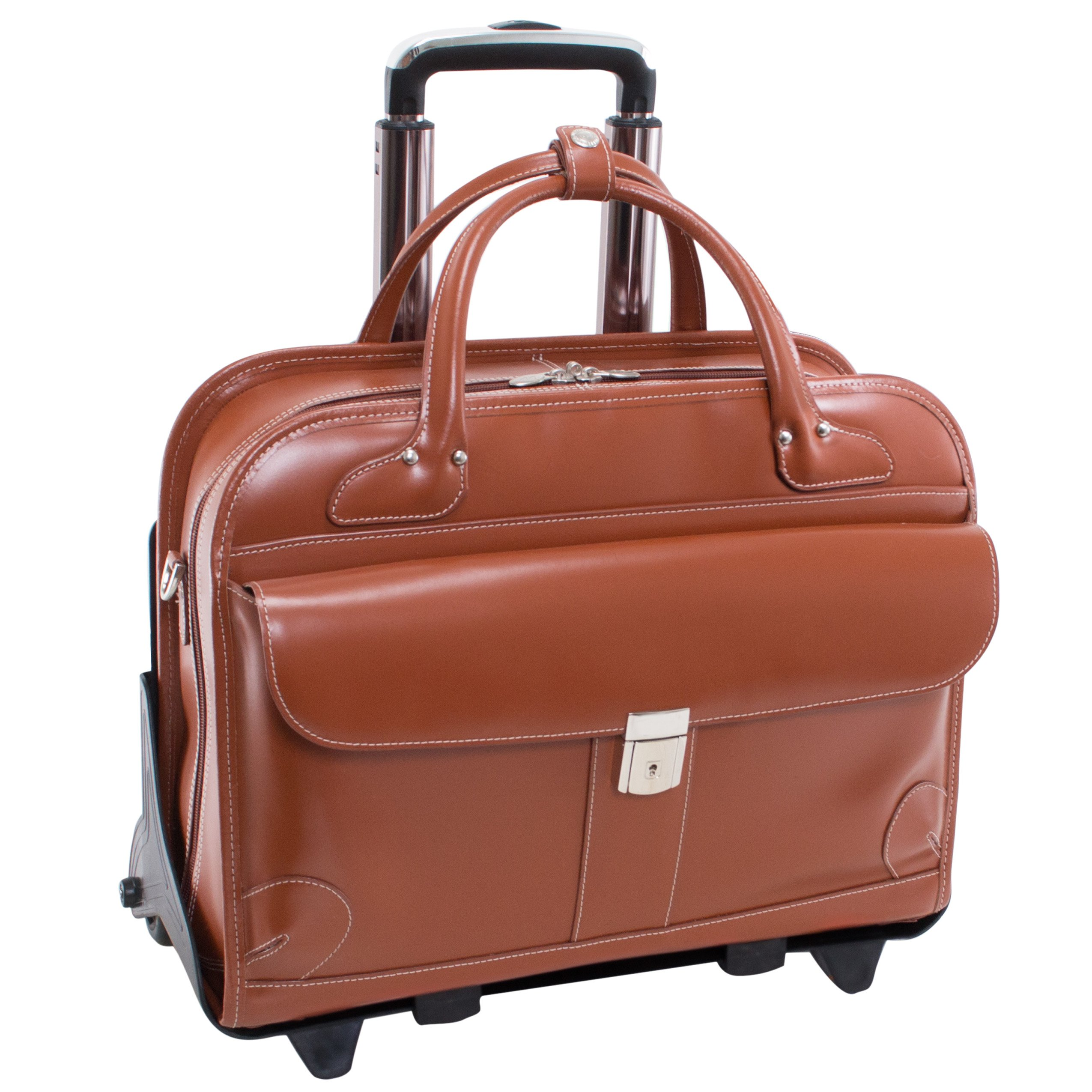 McKlein USA Lakewood Brown 15.6'' Leather Fly, Friendly Detachable, Wheeled Ladies' Briefcase (96614)