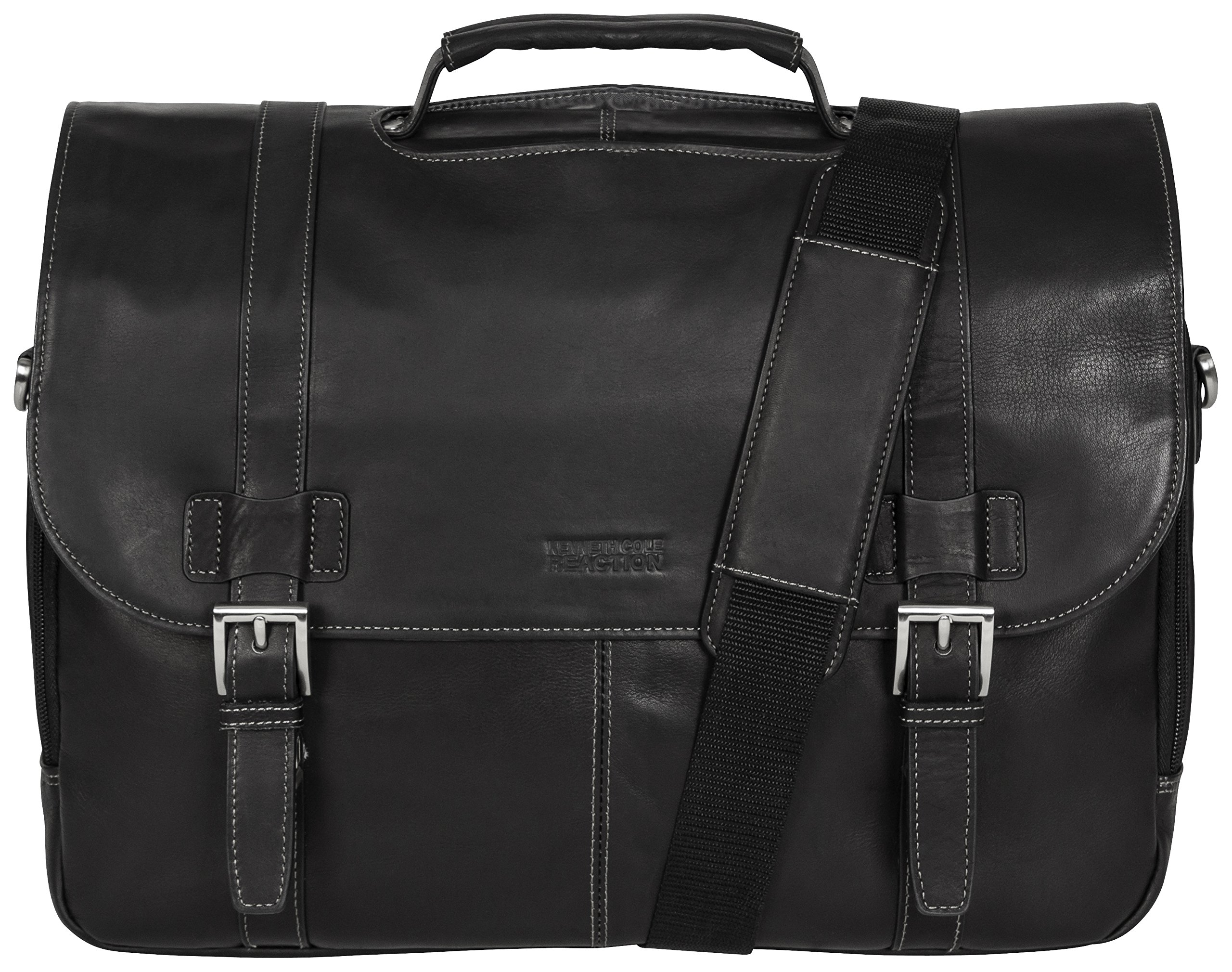 Kenneth Cole Reaction ''Show Business'' Colombian Leather Double Compartment Flapover Portfolio/Computer Case With Pull Through Handle/ Fits Most  15.4'' Laptops, Black, One Size by Kenneth Cole REACTION