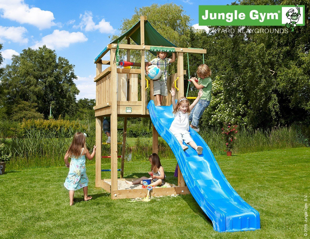 JUNGLE GYM Spielturm Jungle LODGE mit Wellen-Rutsche, Gesamtmaße (B/T/H): 160/410/290 cm