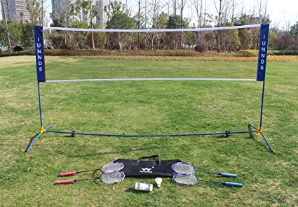IUNNDS KLB Sport Height Adjustable Portable Volleyball Badminton Tennis Net Set with Stand//Frame for Adults and Kids
