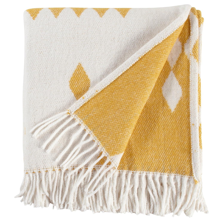 "Rivet Colorful Geometric Diamond Jacquard Reversible Throw Blanket, 50""x60"", Mustard/White"