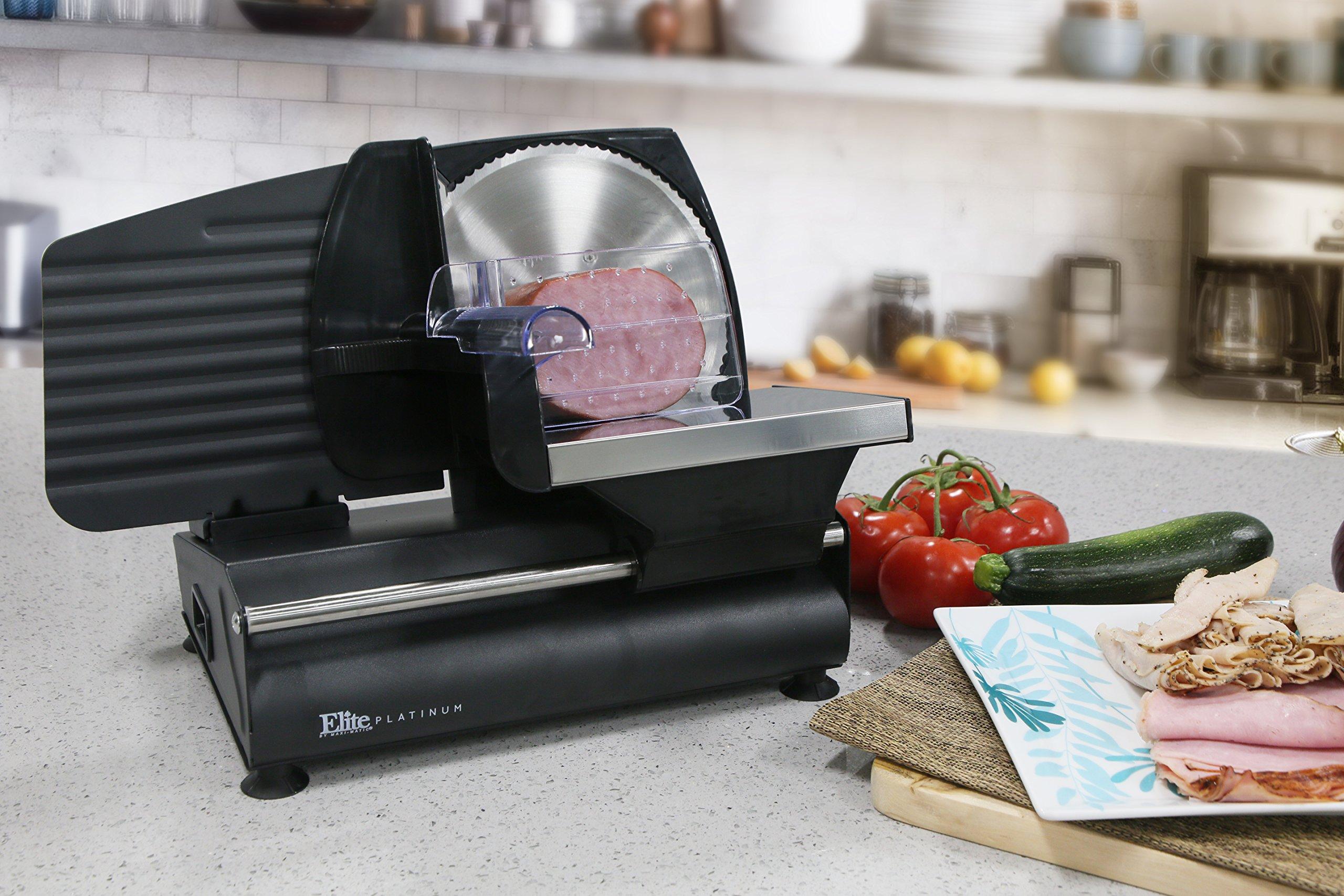 Elite Gourmet EMT-503B 130 Watt Die-Cast-Aluminum Electric Food Slicer, Black by Maxi-Matic (Image #5)