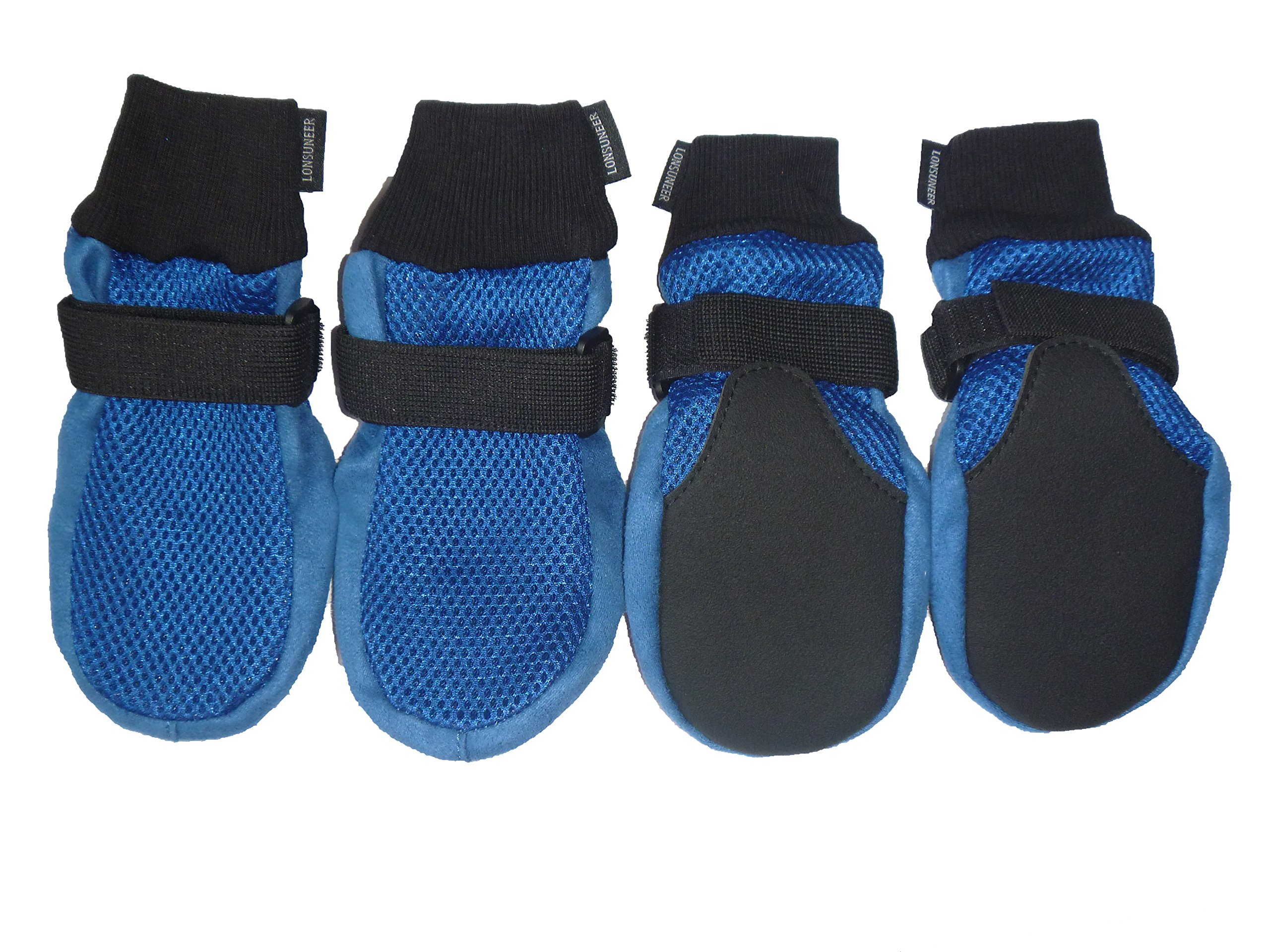 LONSUNEER Dog Boots Breathable and Protect Paws Soft Nonslip Soles Blue Color Size X-Large - Inner Sole Width 3.15 Inch