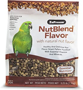 ZuPreem NutBlend Smart Pellets Bird Food for Parrots and Conures| Made in USA, Daily Nutrition, Essential Vitamins, Minerals for African Greys, Senegals, Amazons, Eclectus, Cockatoos