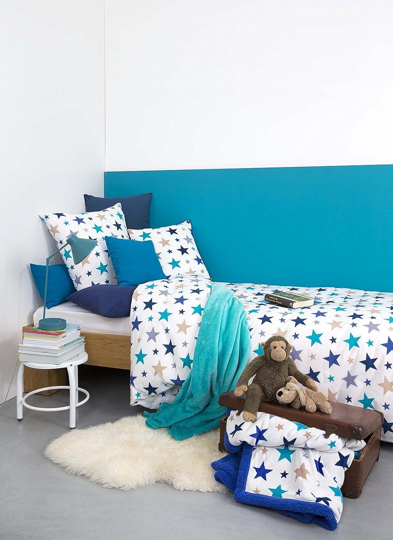 Aminata Kids Kinderbettwasche Bettwasche Kinder Sterne Blau Jungen