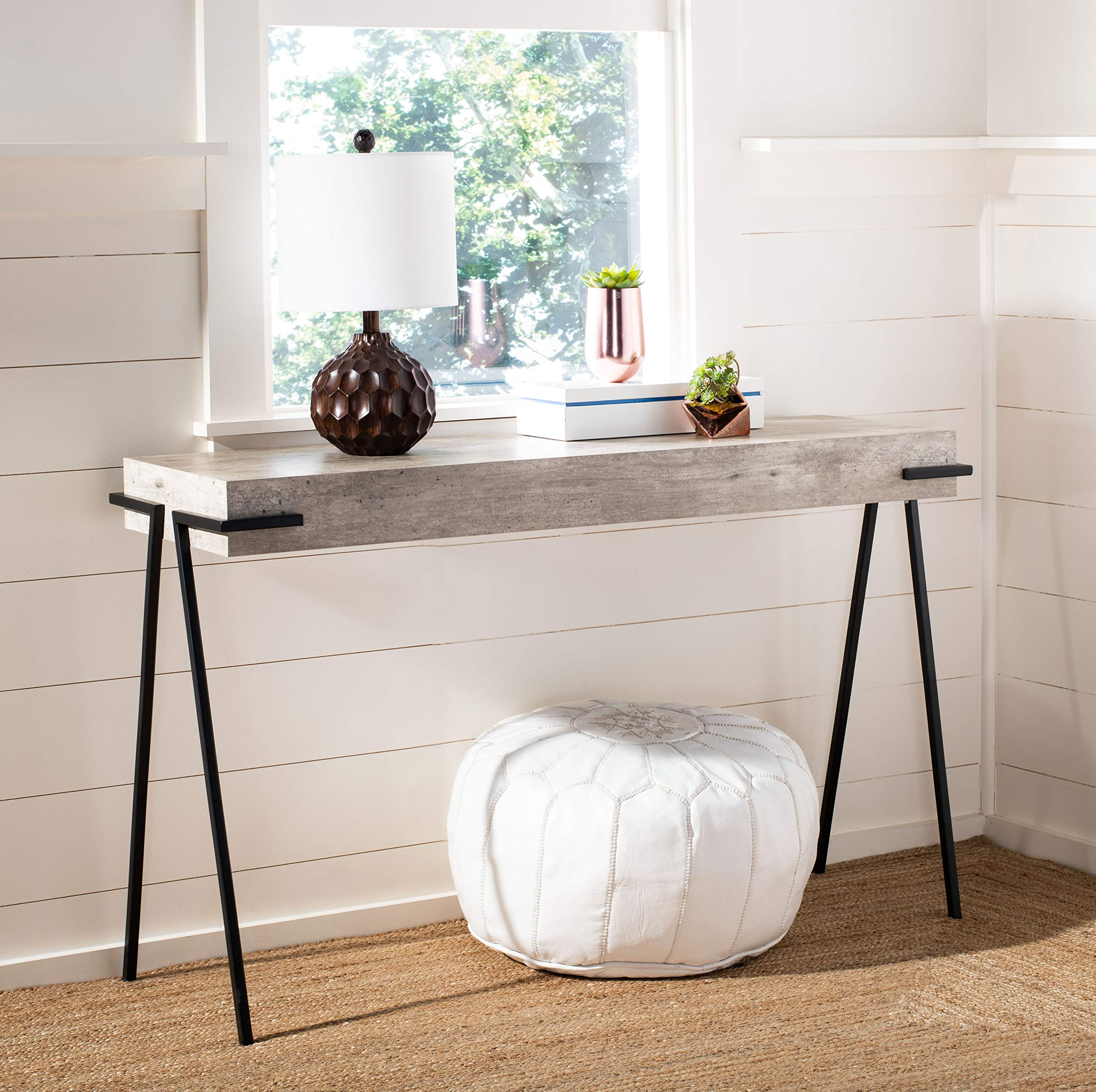 Safavieh Home Jett Modern Industrial Light Grey and Black Rectangle Console Table, gray by Safavieh