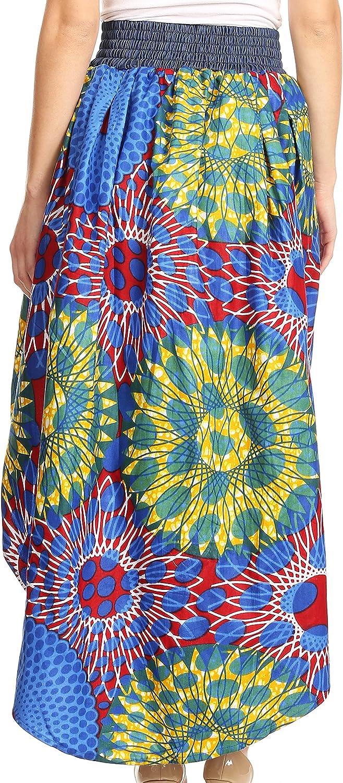 Sakkas Bahati Hi Low Mermaid African Ankara Dutch Wax Cotton Skirt Colorful