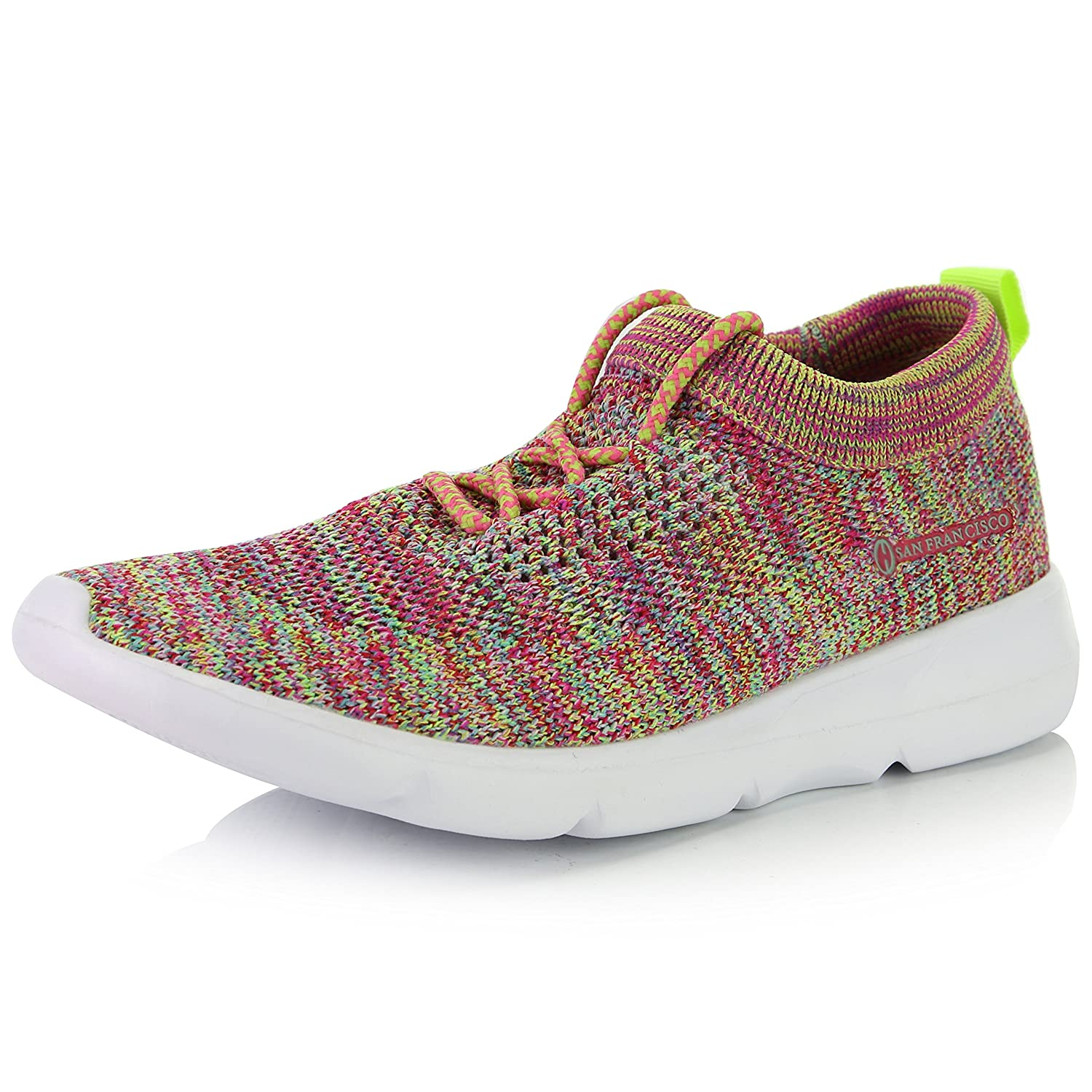 DailyShoes Women's Sneakers Slip-on Walking Memory Foam Shoes B077QM12WH 5 B(M) US|6207l Rainbow Mesh