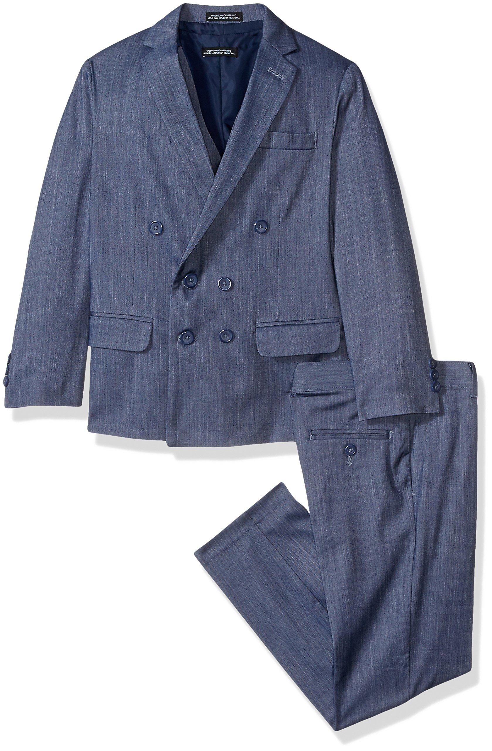 Steve Harvey Big Boys' Three Piece Suit Set, Navy Denim, 16