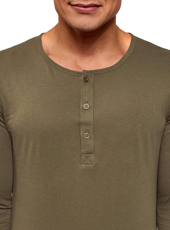 oodji Ultra Uomo T-Shirt Henley con Maniche Lunghe