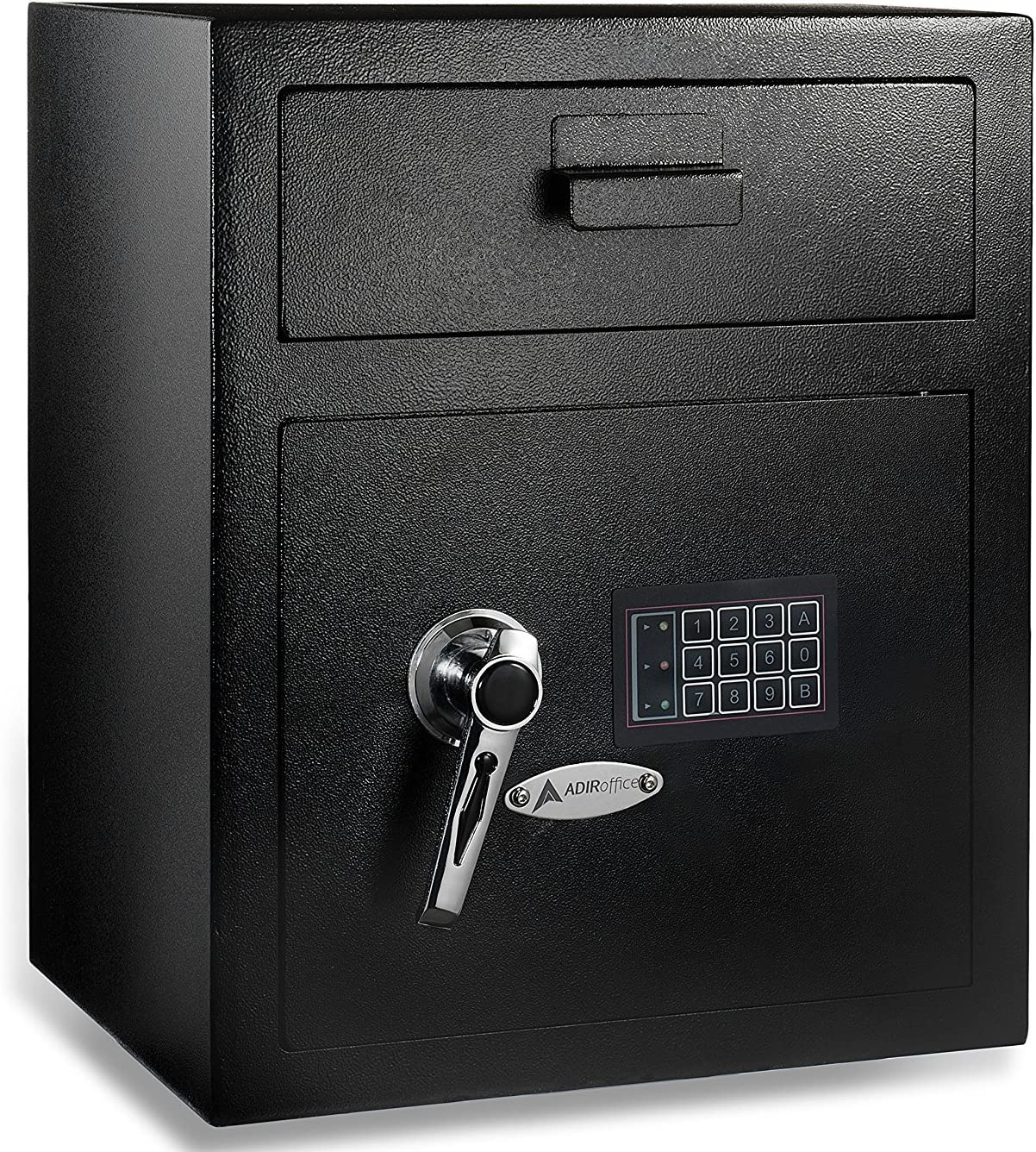 AdirOffice Digital Depository Safe - Front Loading - Digital Keypad Lock - Lockout Mode (Black)