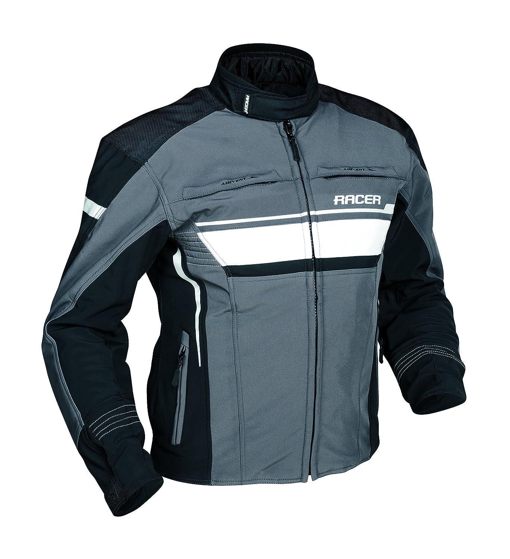 talla XL /Chaqueta para hombre color negro//gris//blanco Racer moto Team/