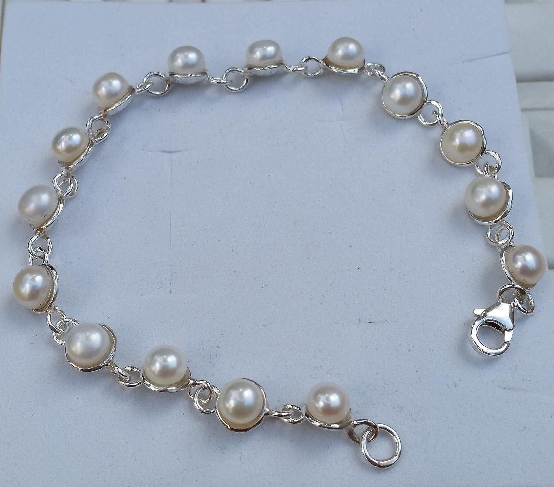 Amazon.com: Pearl Silver Bracelet Bridal Pearl Bracelet Sterling