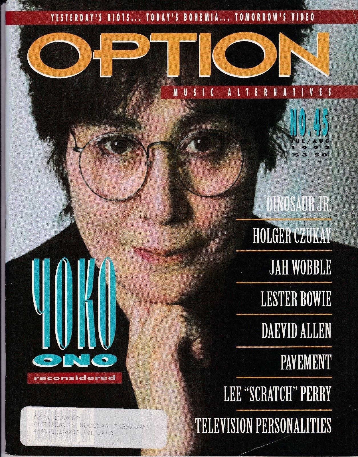 Option Magazine (No  45 July/August 1992) Yoko Ono cover