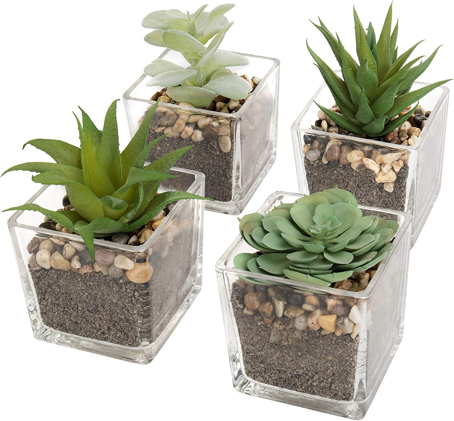 MyGift Assorted Artificial Echeveria Succulent Plants in Square Clear Glass Pots, Set of 4