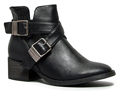 Amazon.com | Breckelles Bronco-11 Chunky High Heel Buckle Ankle ...