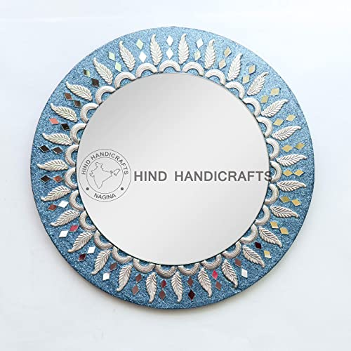 Hind Handicrafts Turquoise Wooden 16 Round Wall Mirror – Large Round Mirror, Rustic Accent Mirror for Bathroom, Entry, Dining Room, Living Room