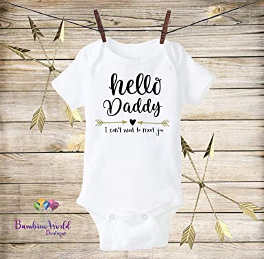 3a20fde45 Image Unavailable. Image not available for. Color: Hello Daddy Onesie  Pregnancy Reveal ...