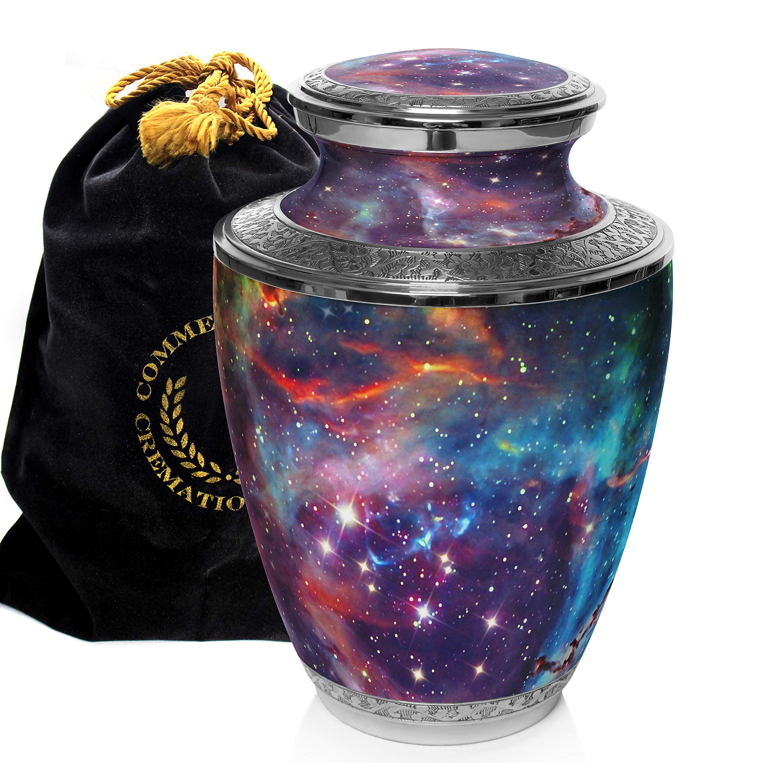 Cosmic Galaxy Universe Cremation Urns for Adult Ashes for Funeral, Niche or Columbarium, 100% Brass, Cremation Urns for Human Ashes Adult 200 Cubic inches (Cosmic Galaxy, Extra Large)