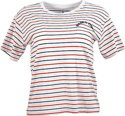 3ee45699585e8 Only Damen T-Shirt Kurzarm Donna O-Neck Damenshirt Stickerei Babes Only  Gestreift Marine