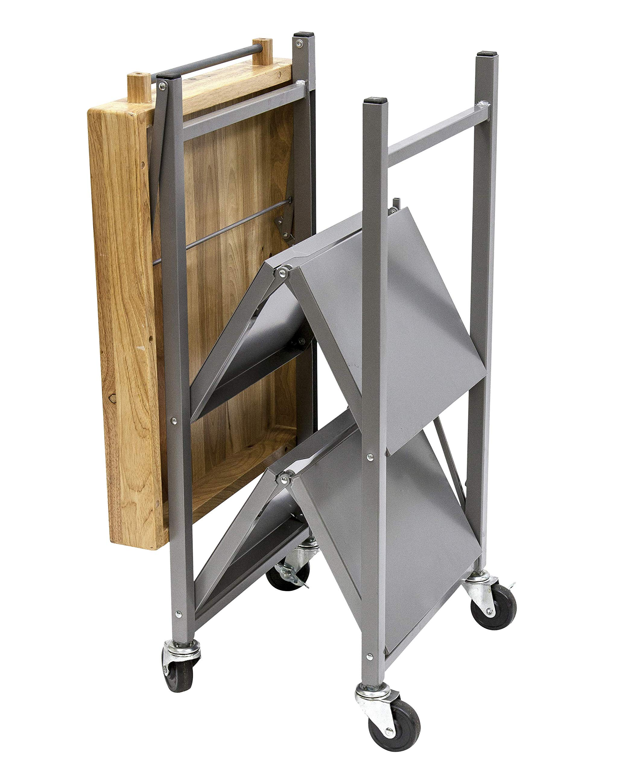 Origami Foldable Rolling Kitchen Island Cart, Food Serving Cart, 3-Tier Storage Shelf with Wood Top, Microwave Stand, Heavy Duty, Silver by Origami (Image #2)