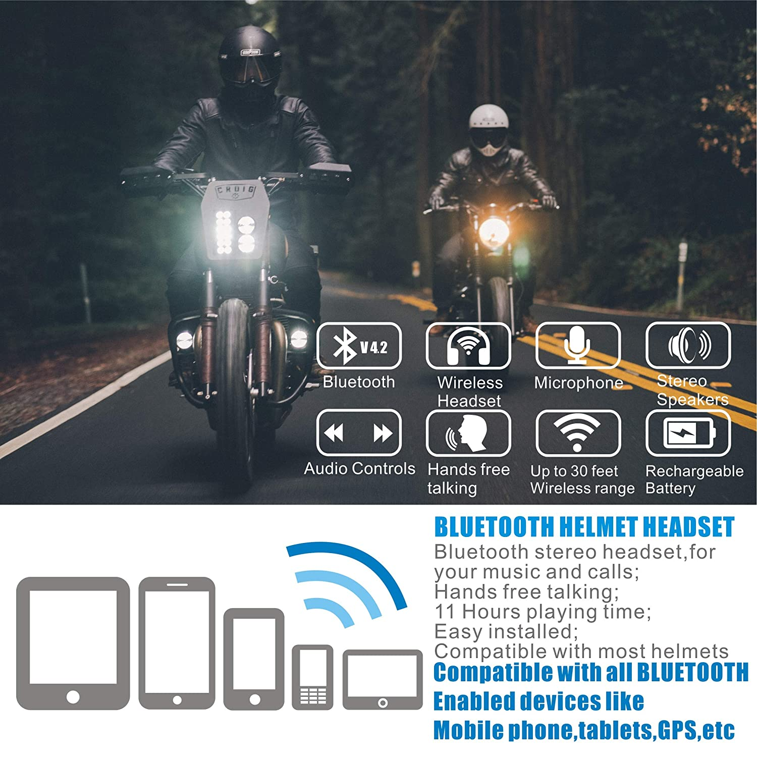Motorcycle Bluetooth 4.2 Helmet Headset-Intercom Communication Systems Kit,with Automatic call answering switch for Motorbike Skiing