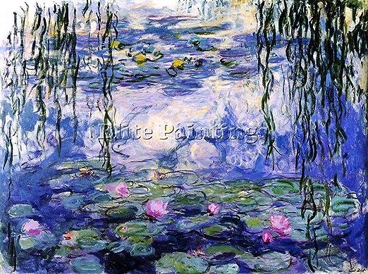 Elite Paintings Claude Monet Water Lilies 38 Artiste Tableau Reproduction Huile Toile Peinture 90x120cm Haute Qualite Amazon Fr Cuisine Maison