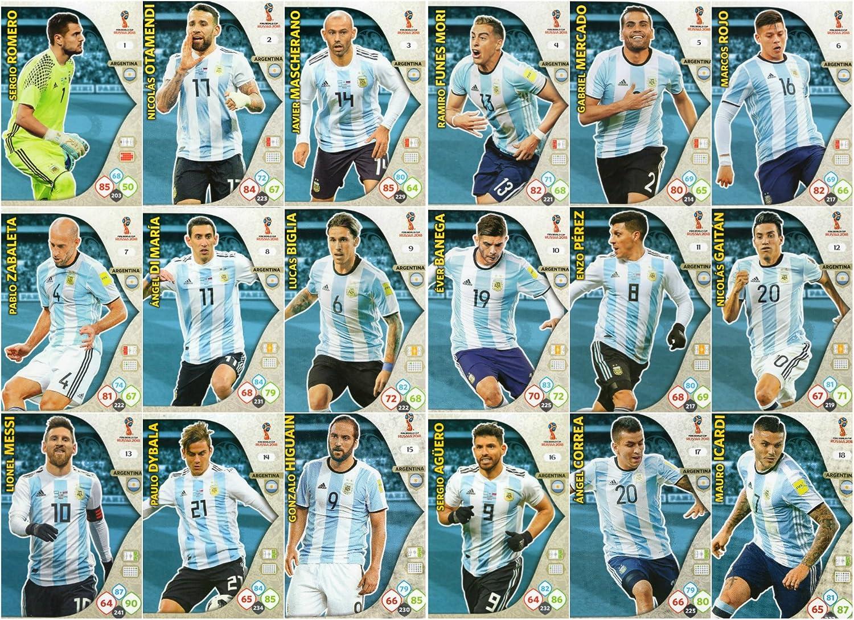 ADRENALYN XL Copa Mundial de Fútbol Rusia 2018 - Juego de 18 tarjetas de la selección argentina: Amazon.es: Deportes y aire libre
