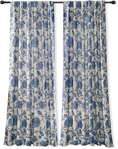 DriftAway Freda Jacobean Floral Linen Blend Lined Thermal Insulated Blackout Room Darkening Back Tabs Window Curtains 2 Layers 2 Panels Each 52 Inch by 84 Inch Blue
