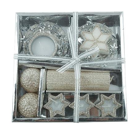 GOYAL Ceramic Tea Light Candle & Holder Set (19 cm x 19 cm x 11 cm, White & Beige, 9-Pieces)