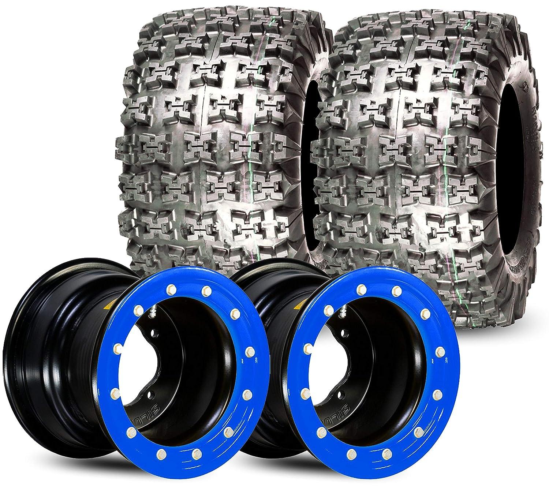 Set of 2 | Gravity 655 20x11x9 & Silver Tec Beadlock 9x8 | 3+5 | 4x115 | ATV Tire & Wheel Kit Mounted … (Orange) GPS GRAVITY