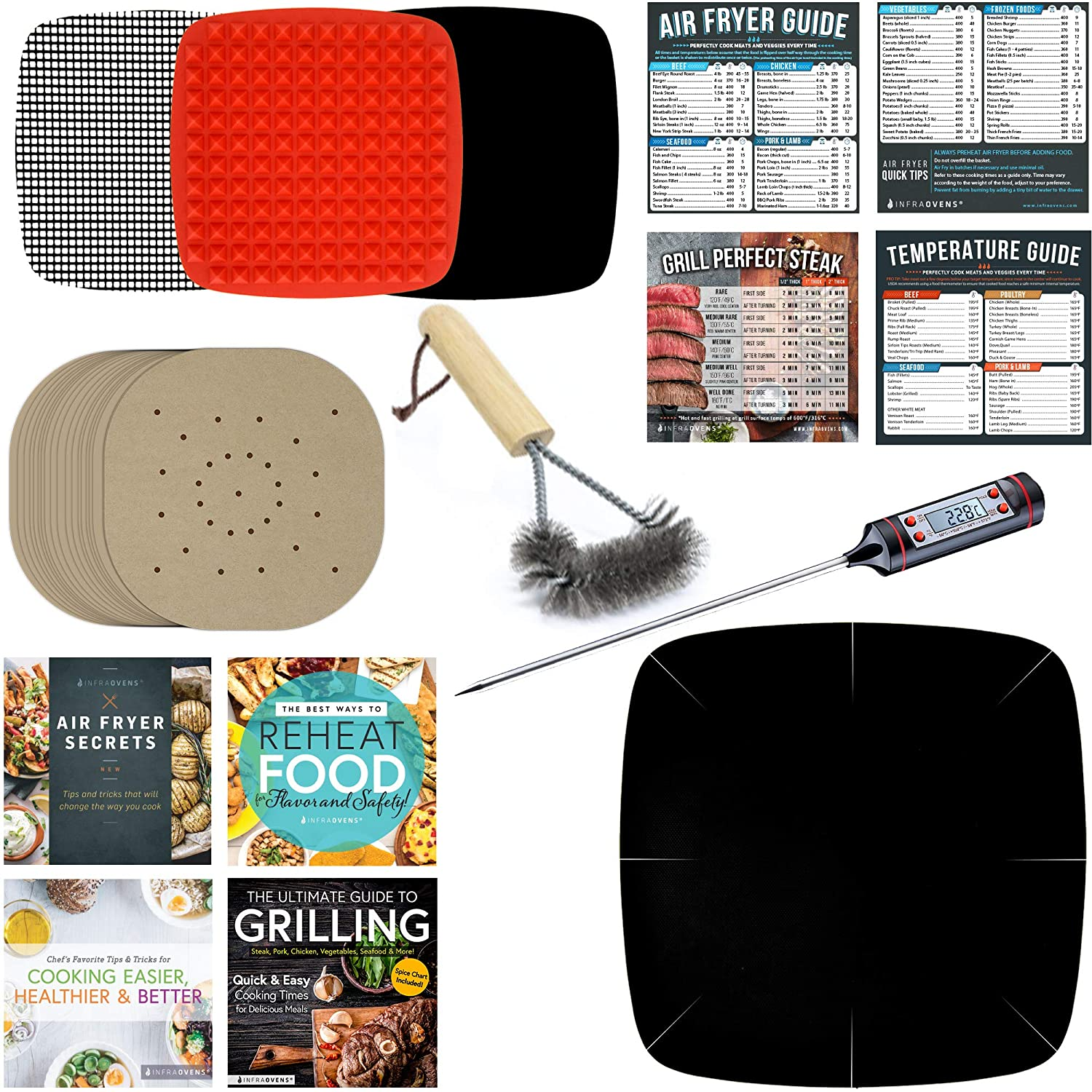 Extra Large Air Fryer Parchment Squares & Cookbook Accessory for Basket Compatible with Power, Cosori, NuWave & More – Airfryer Accessories – Silicone Mat, Thermometer & Grill Brush