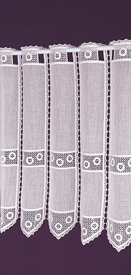 Visillo a medida Macramee – Cortina de láminas, ganchillo, corta, estilo rústico, aspecto de batista, altura 45 cm, ancho de la cortina por unidades en incrementos de 10 cm, color blanco: Amazon.es: Hogar