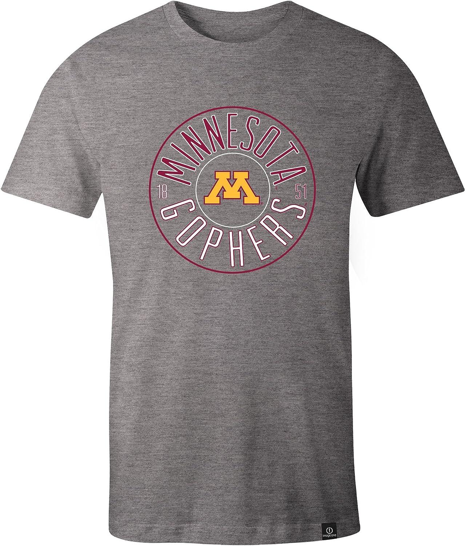 XX-Large,HeatherGrey NCAA Minnesota Golden Gophers Adult NCAA Circles Image One Everyday Short sleeve T-Shirt
