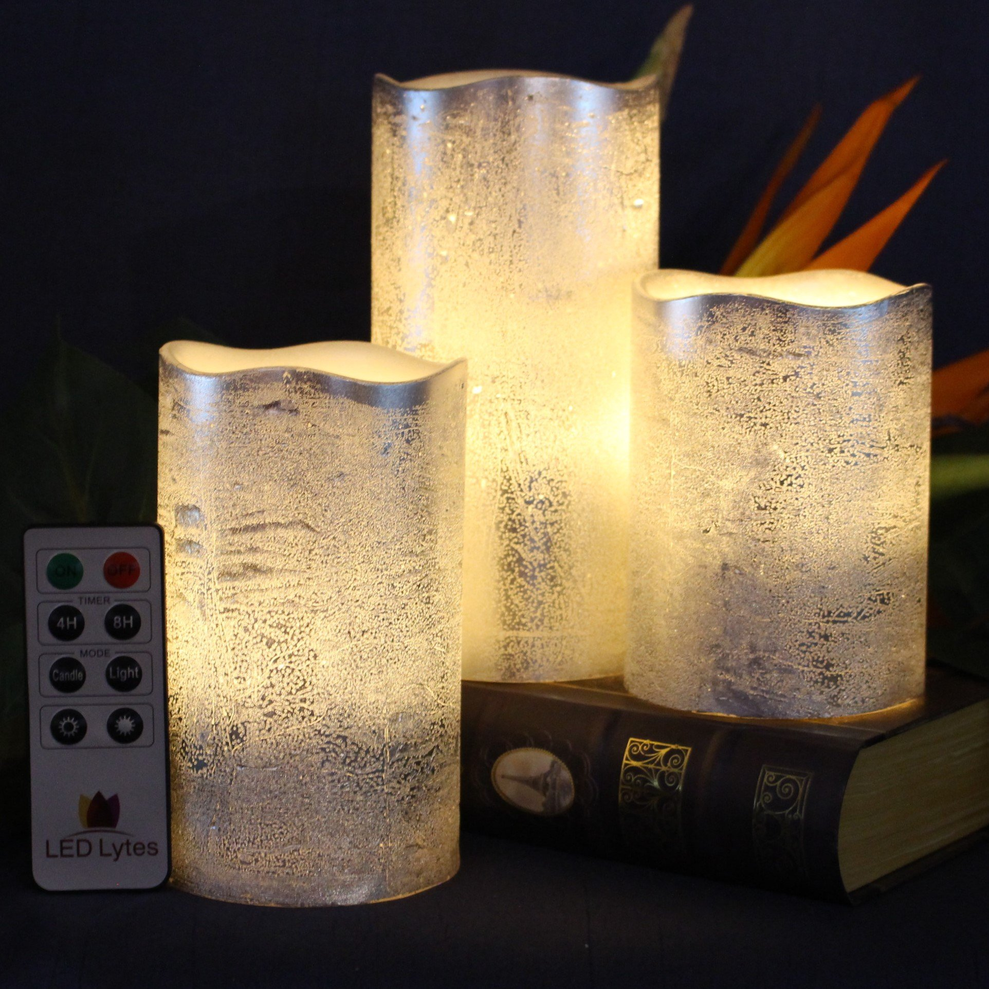 Battery Operated LED Flameless Candles - Set of 3 Round Rustic Silver Coated Ivory Wax with Warm White Flame Flickering LED Candles, auto-Off Timer Remote Control by LED Lytes by LED Lytes (Image #3)