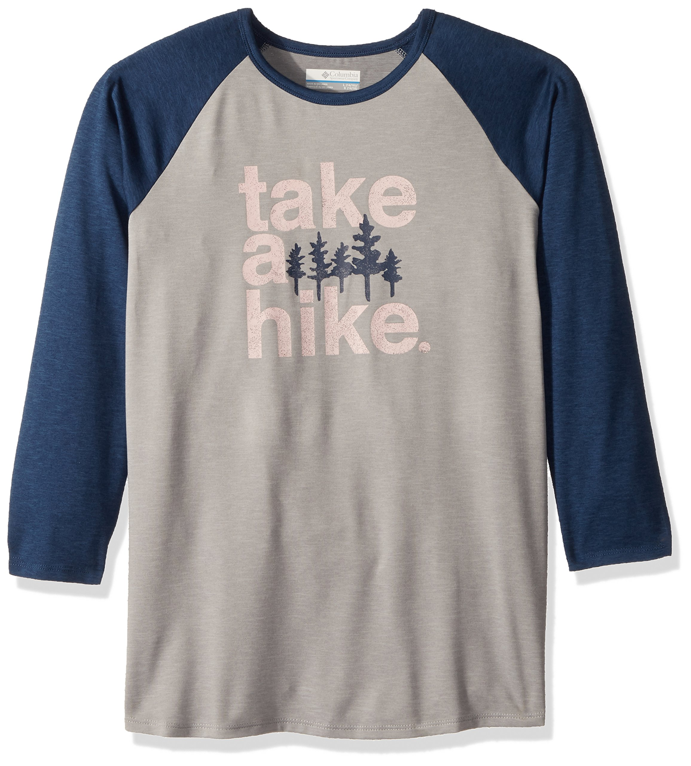 Columbia Boys Outdoor Elements3/4 Sleeve Shirt, Carbon Hike Graphic, Small by Columbia