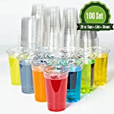 Plastic Cups with Lids and Straws [ 20oz -100 Sets ] Clear Disposable Cups Ideal for Iced Coffee, Juice, Bubble Boba, Smoothie, Soda, Cocktail Party and Tea etc.