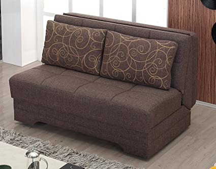 BEYAN El Paso Collection Armless Convertible Love Seat/Sleeper With Easy  Access Storage Space,
