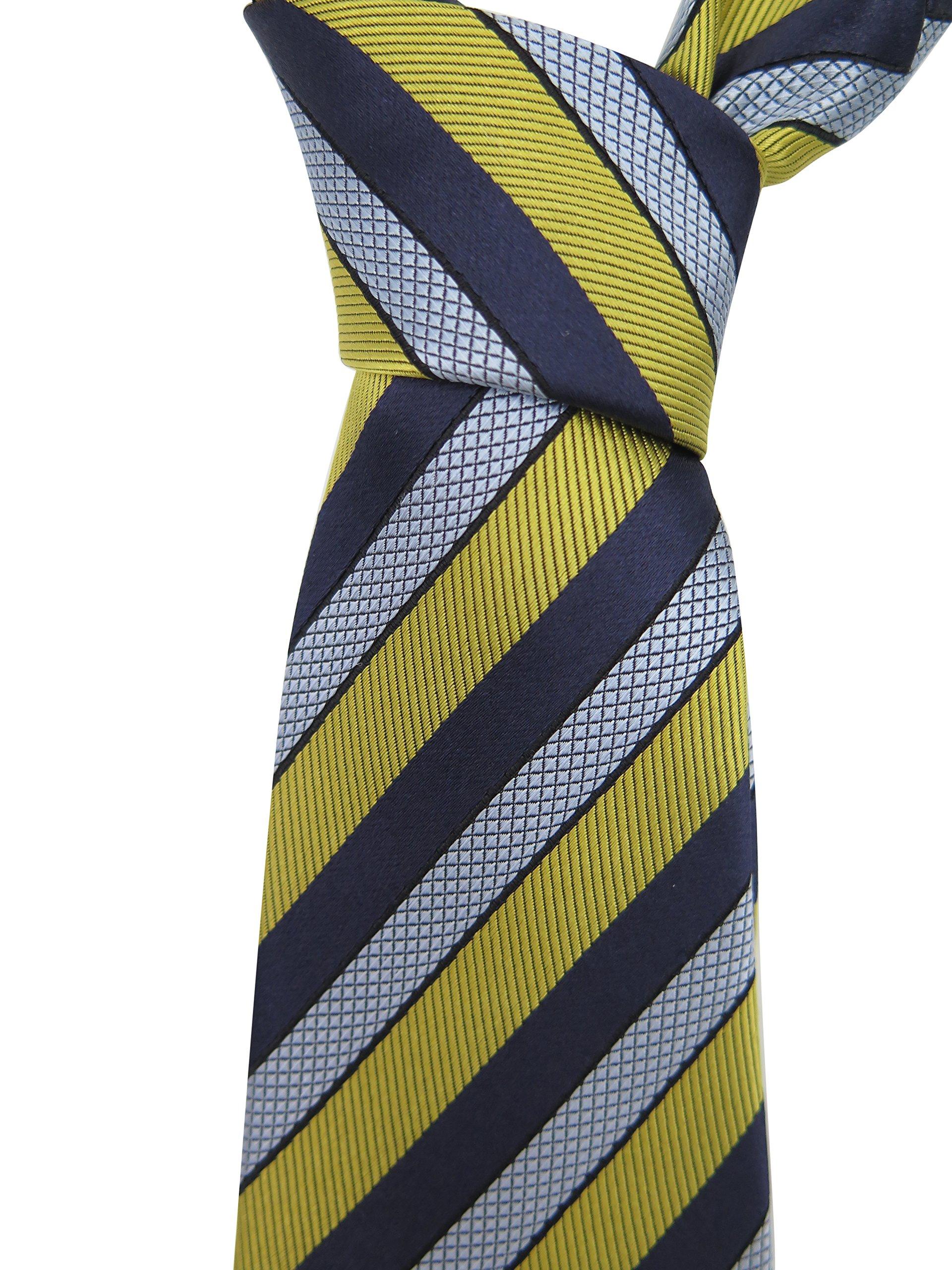 Ermenegildo Zegna Blue Gold Striped Silk Tie