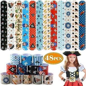 Tacobear 48Piezas Pirata Pulseras de Juguete Pulsera de Bofetada Niños Niñas para Pirata Fiesta Artículos Cumpleaños Favores de Fiesta de Halloween ...