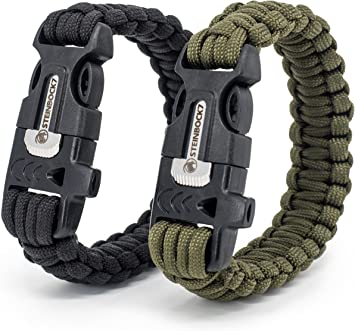 cuchillo 2/unidades pedernal cuerda Paracord instrucciones para trenzar silbato Pulseras de supervivencia Steinbock7/®