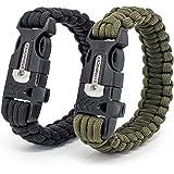 steinbock7® Bracciale Paracord, Set di 2, Verde & nero, con istruzioni per licheni