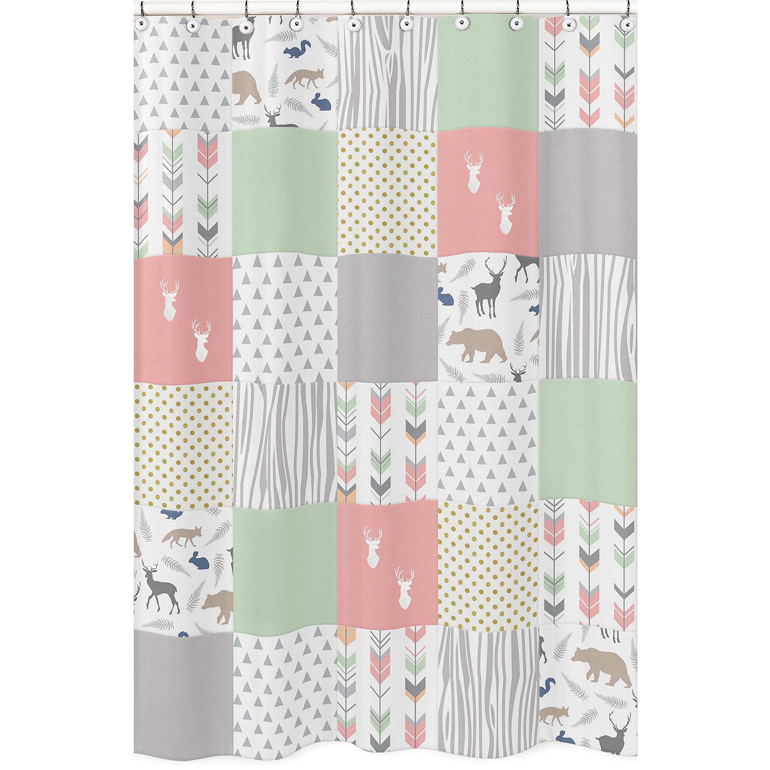 Sweet Jojo Designs Coral, Mint and Grey Woodsy Animal Polka Dot Arrow Girls Kids Bathroom Fabric Bath Shower Curtain