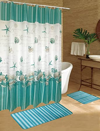Caribbean Joe 15PC Shell Wreath Aqua Bathroom Bath Mats Set Rug Carpet  Shower Curtain Hooks Non