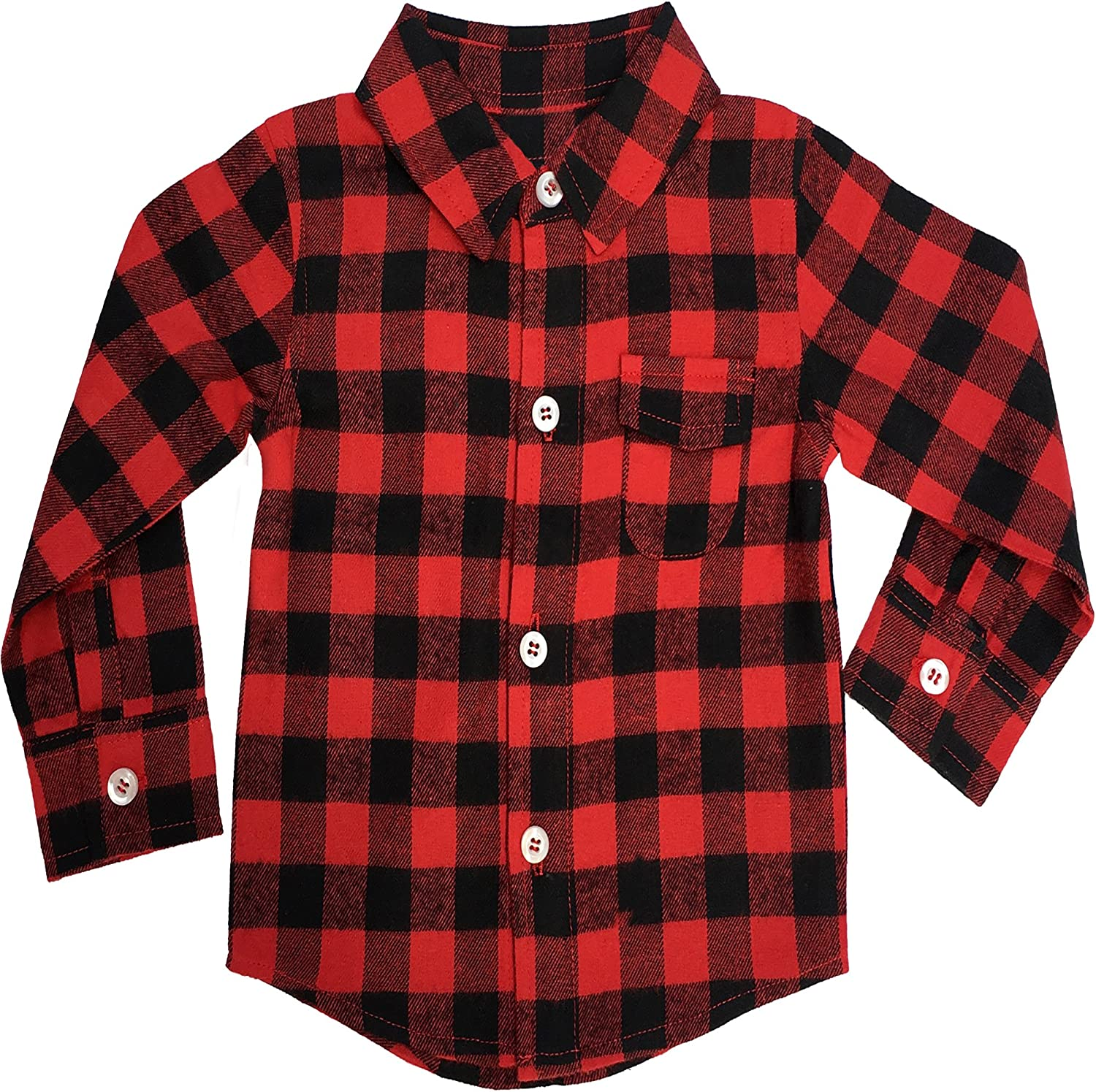 Toddler Infant Kids Baby Girl Long Sleeve Red Buffalo Plaid Dress T-Shirt Clothes