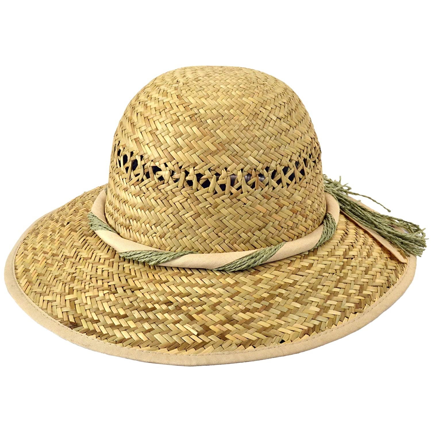 54a5edf5e66 Women s straw hat with cream ribbon and twine band and cream rim (57cm)   Amazon.co.uk  Clothing