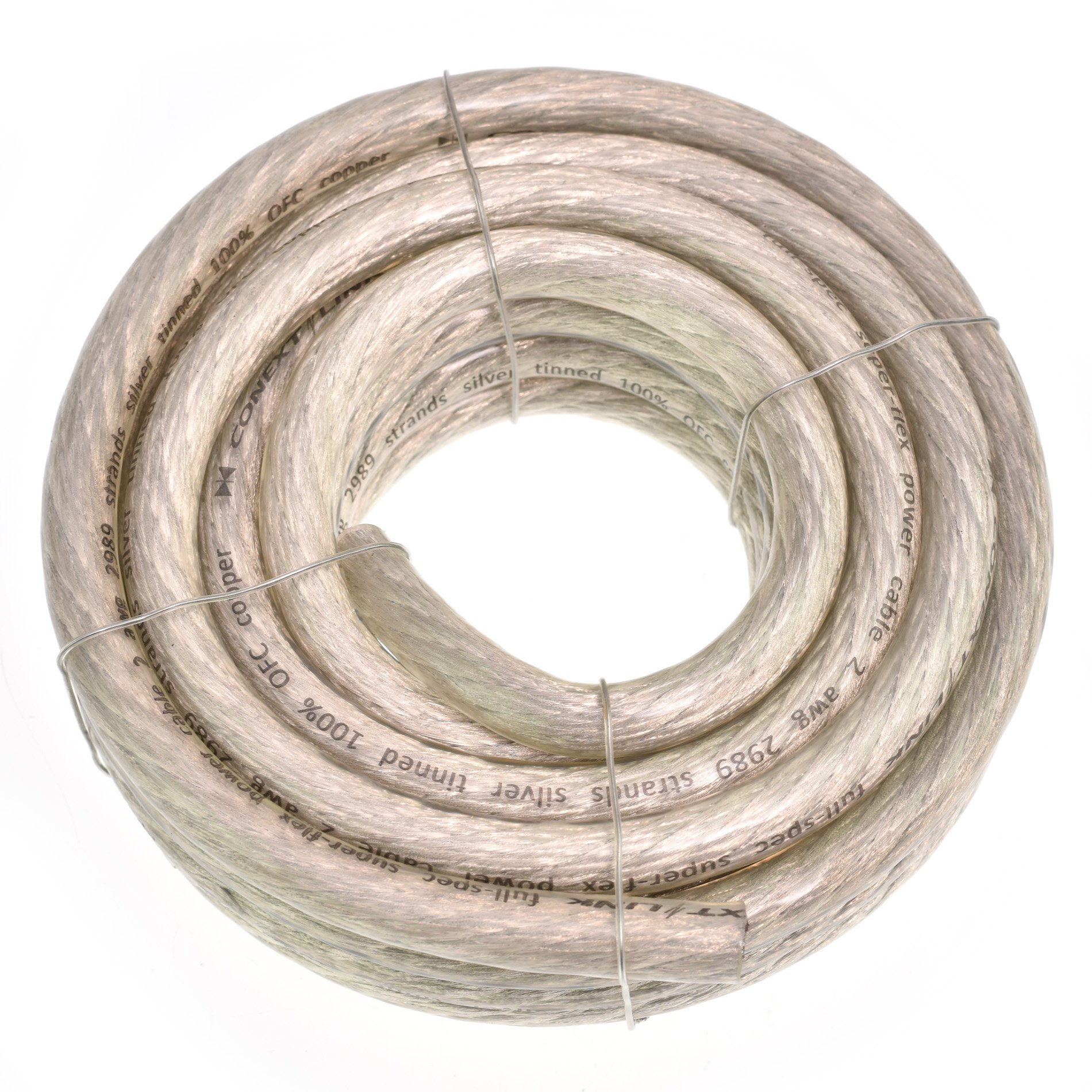 Conext Link 20 FT 2 AWG GA Full Gauge Battery Power Cable Ground Wire Clear Silver OFC Copper