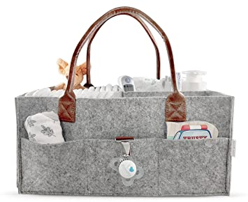 Lily Miles Baby Diaper Caddy   Nursery Diaper Tote Bag   Large Portable Car  Travel Organizer