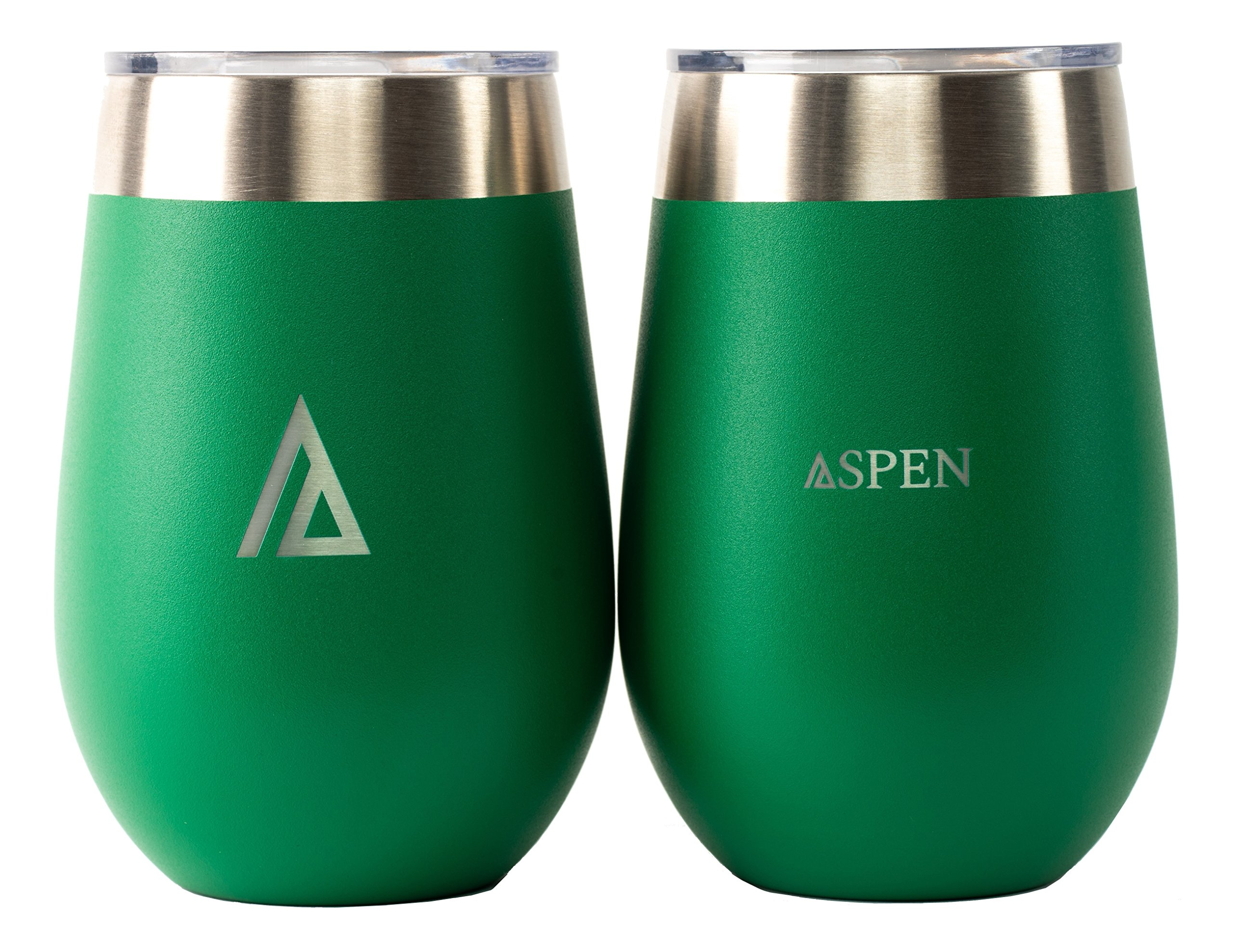 Aspen 12 oz Wine Glasses with Lid, Vacuum Insulated Double-Wall, Stainless Steel Tumbler (Set of 2)