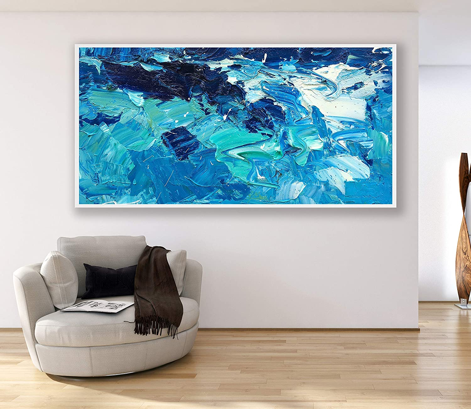 Marvelous Ocean Painting On Canvas 80 Inch Original Blue Abstract Download Free Architecture Designs Embacsunscenecom